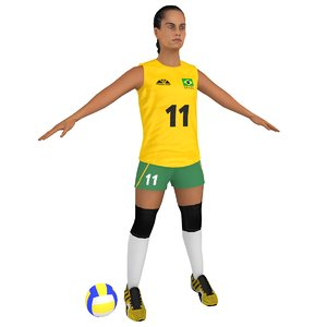 3D ready volleyball player ball