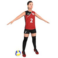 3D ready volleyball player ball model