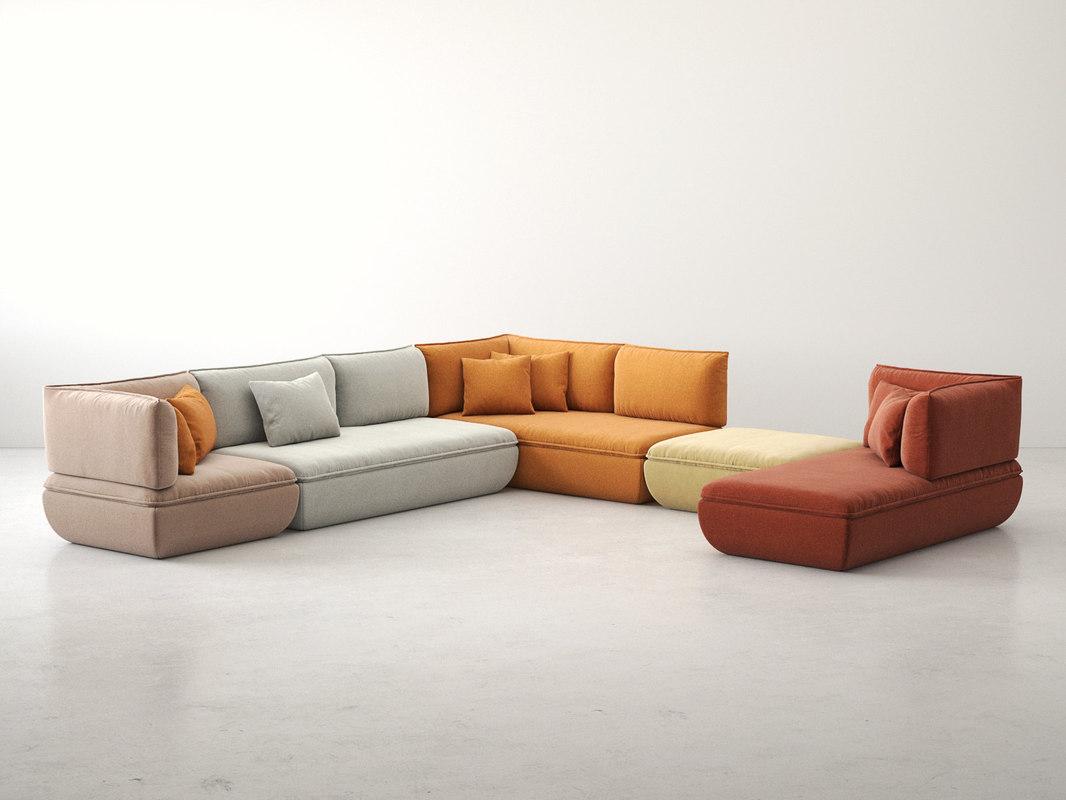 3D mimic modular sofa comp