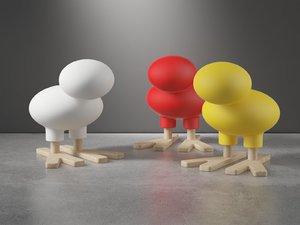 happy bird stool 3D model