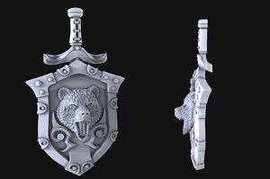 pendant shield bear 3D model