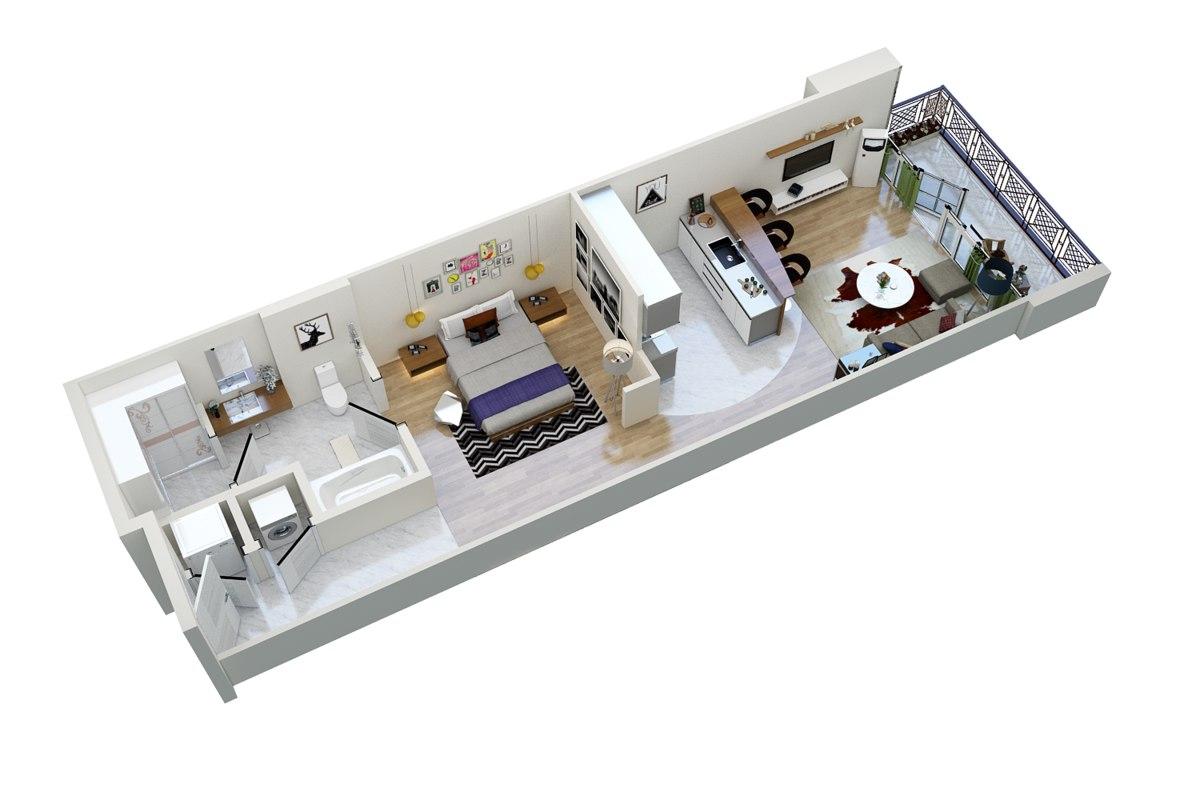 floor plan apartment 3D