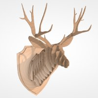 3D model wooden deer head