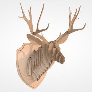 3D model wooden deer head