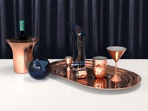 3D model plum cocktail set