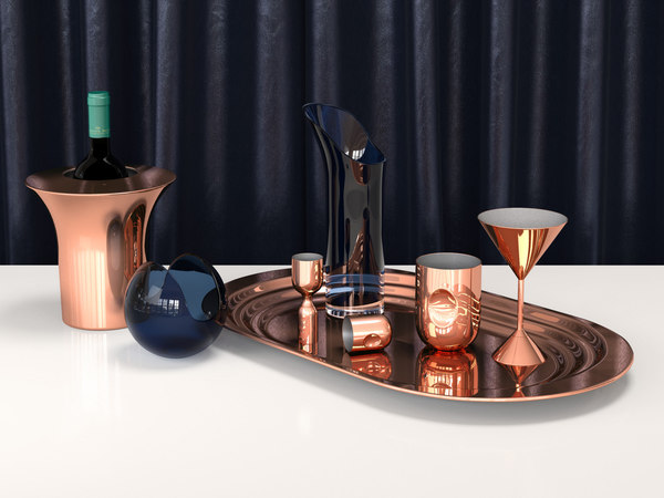 3D model plum cocktail set