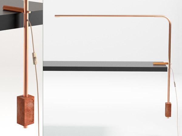 3D quille desk lamp model