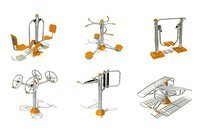 3D model outdoor fitness equipments