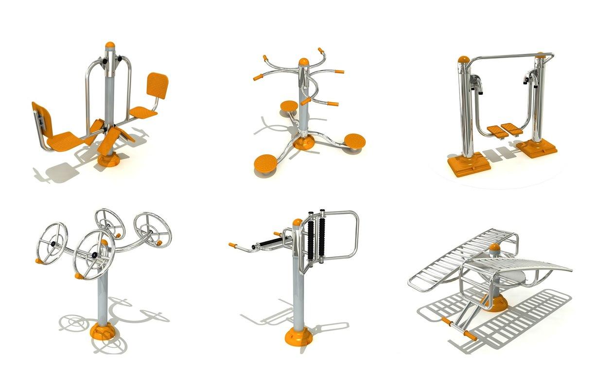 3D model outdoor fitness equipments