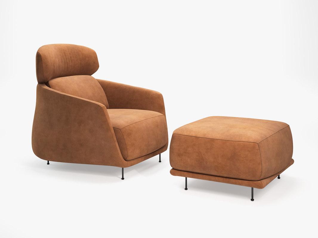 okura armchair ottoman 3D