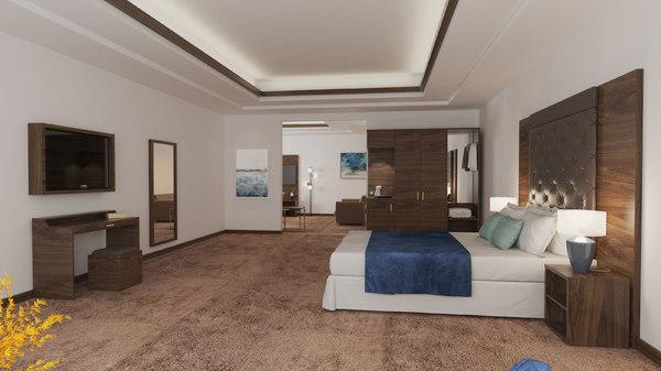 3D hotel room living