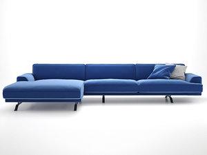 3D model slab corner sofa