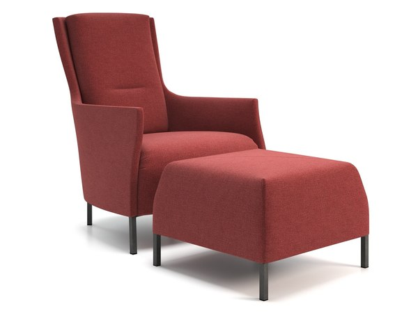 3D riga armchair footstool model