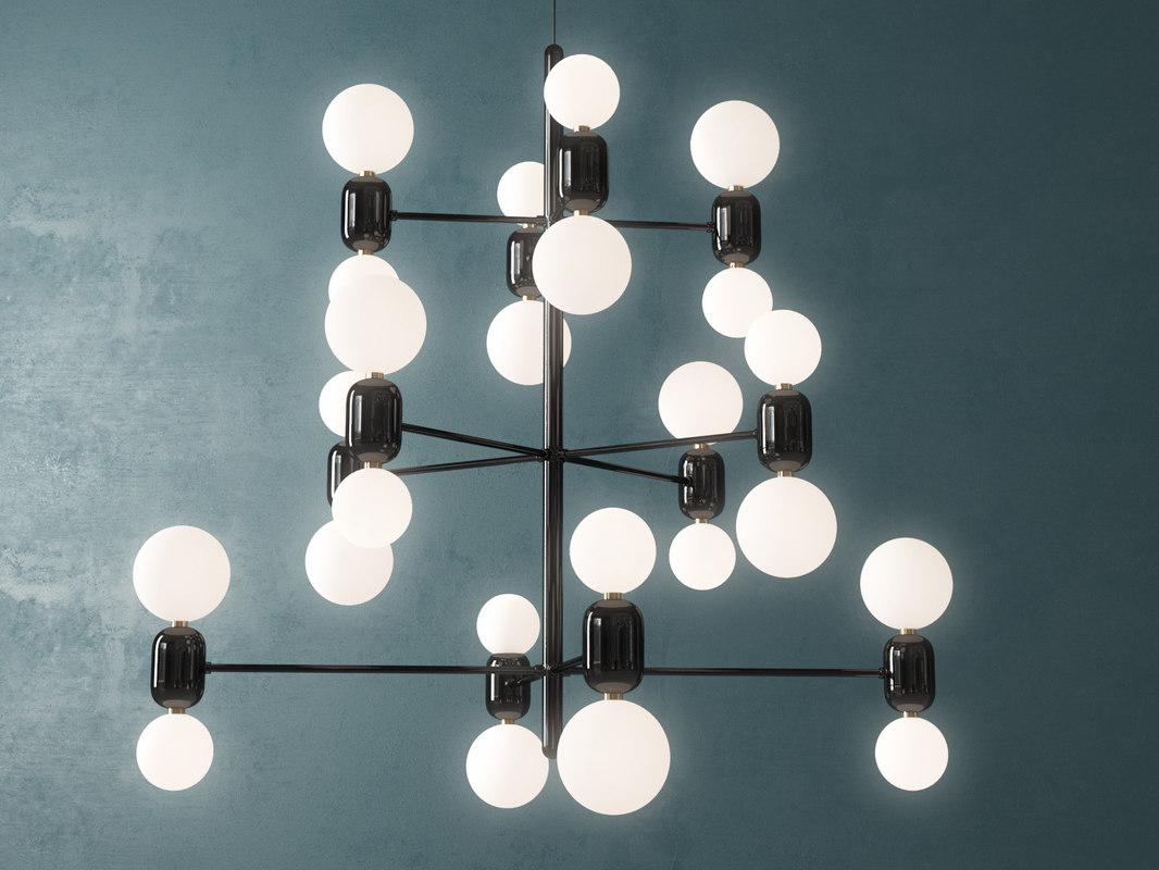 3D model aballs chandelier