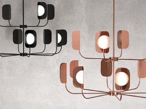 leaf 12 chandelier 3D