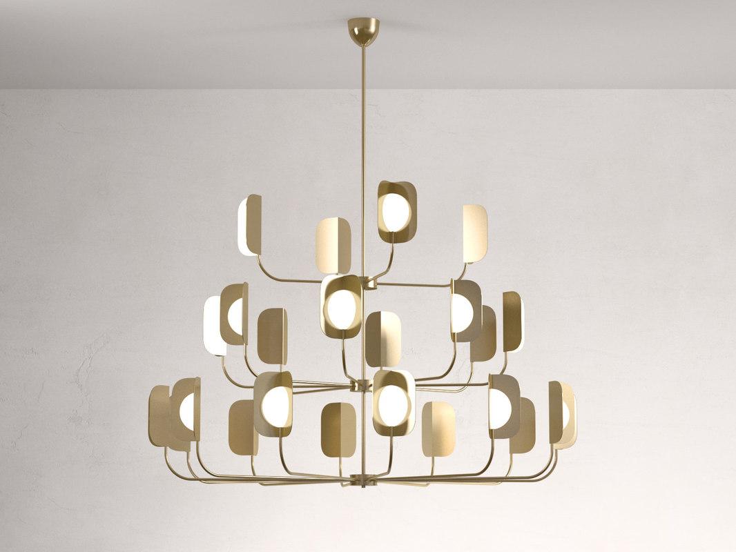 3D leaf 24 chandelier