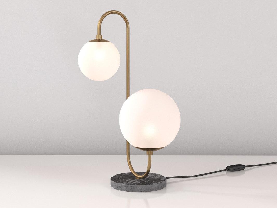 3D pelle table lamp asymmetrical