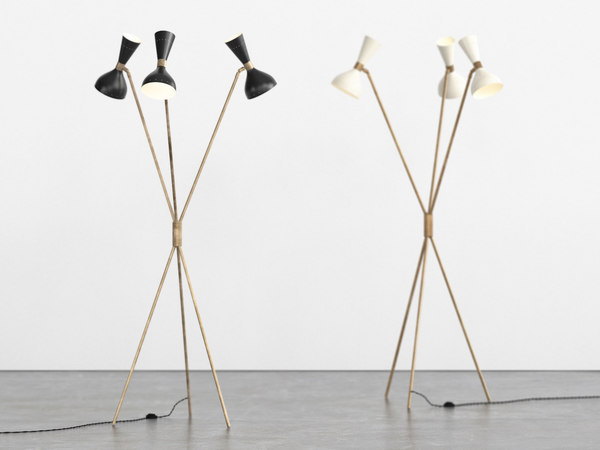 tripod floor lamp 3D model