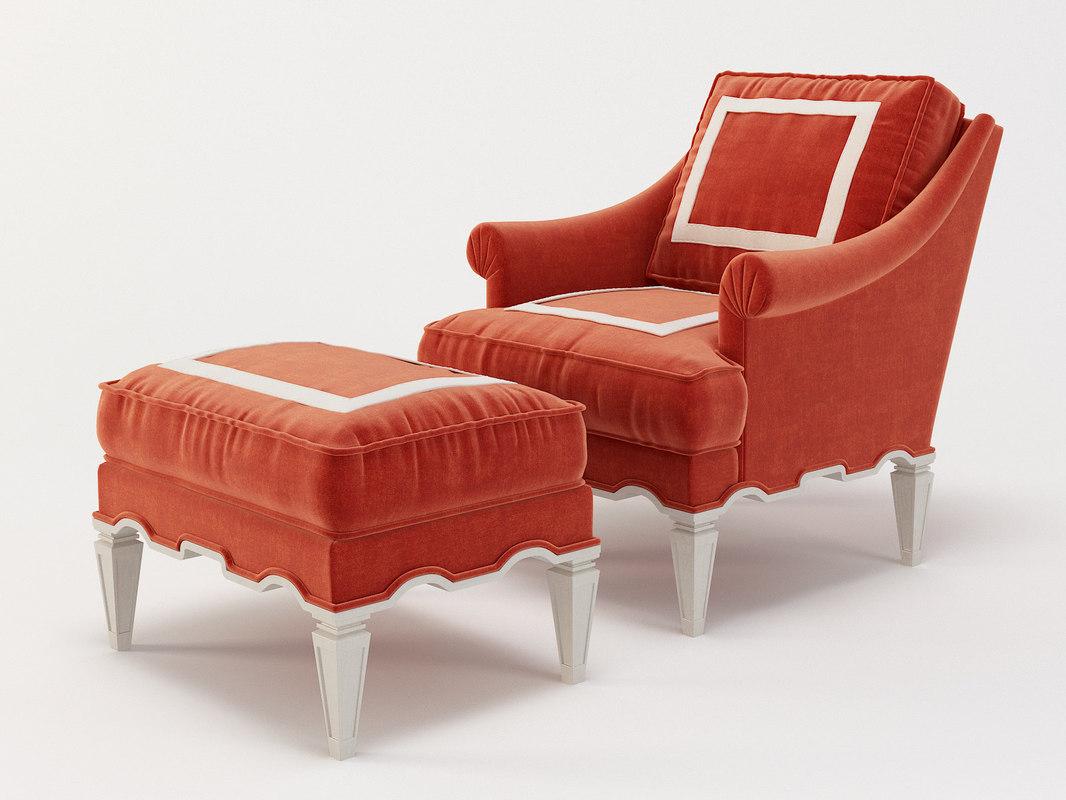 3D palm beach armchair ottoman