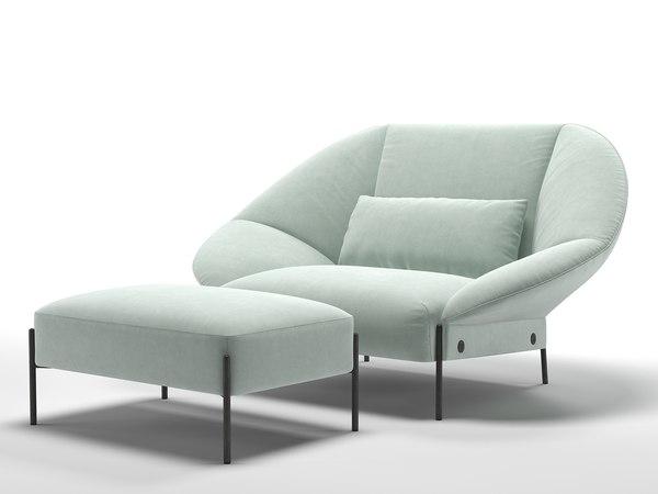3D paipai love seat ottoman