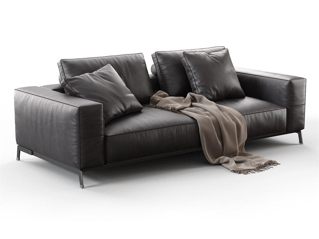 3D model ettore 2-seater sofa