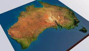 australia realistic topography 3D model