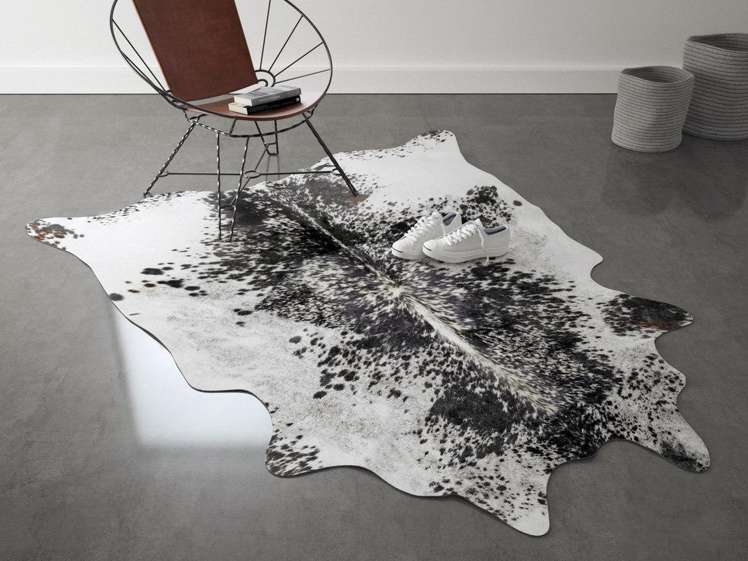 salt papper cowhide rug 3D
