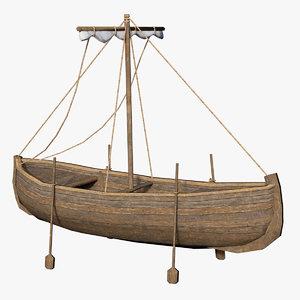3D ancient fishing boat