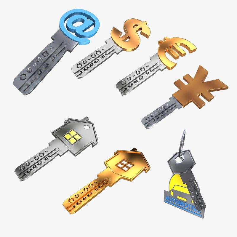 realistic keys 3D