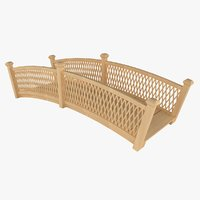 3D wooden bridge wood model