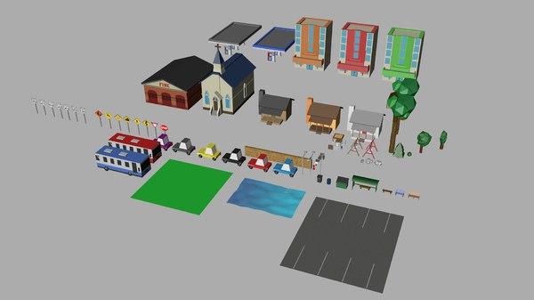 3D simple rural - assets