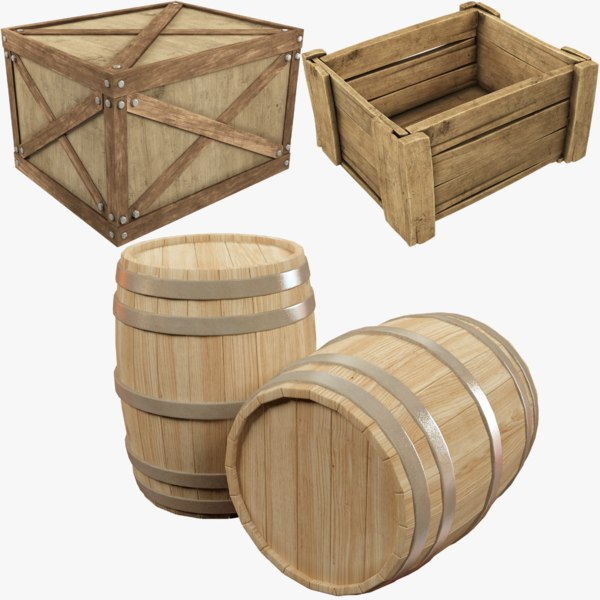 wooden box barrels 3D model