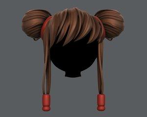 3D hair style girl v29 model