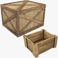 3D model wooden box v1
