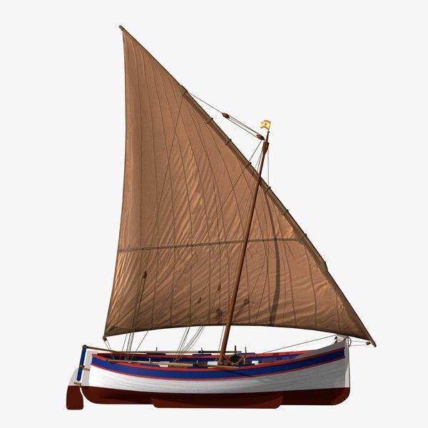 3D sail fishing boat shells