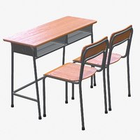 school desk chair 2 3D model