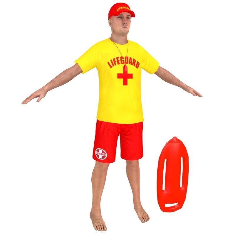 lifeguard man whistle 3D