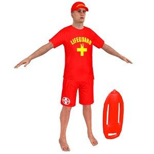 3D lifeguard man whistle model