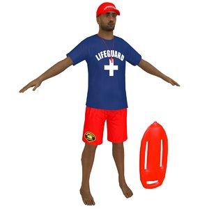 3D model lifeguard man whistle