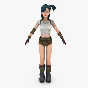 fighter cute girl 3D model