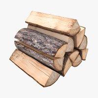 realistic firewood 3D model