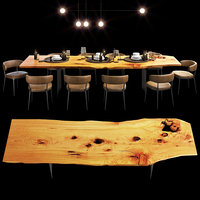 Urban hardwoods dining slab table with tableware
