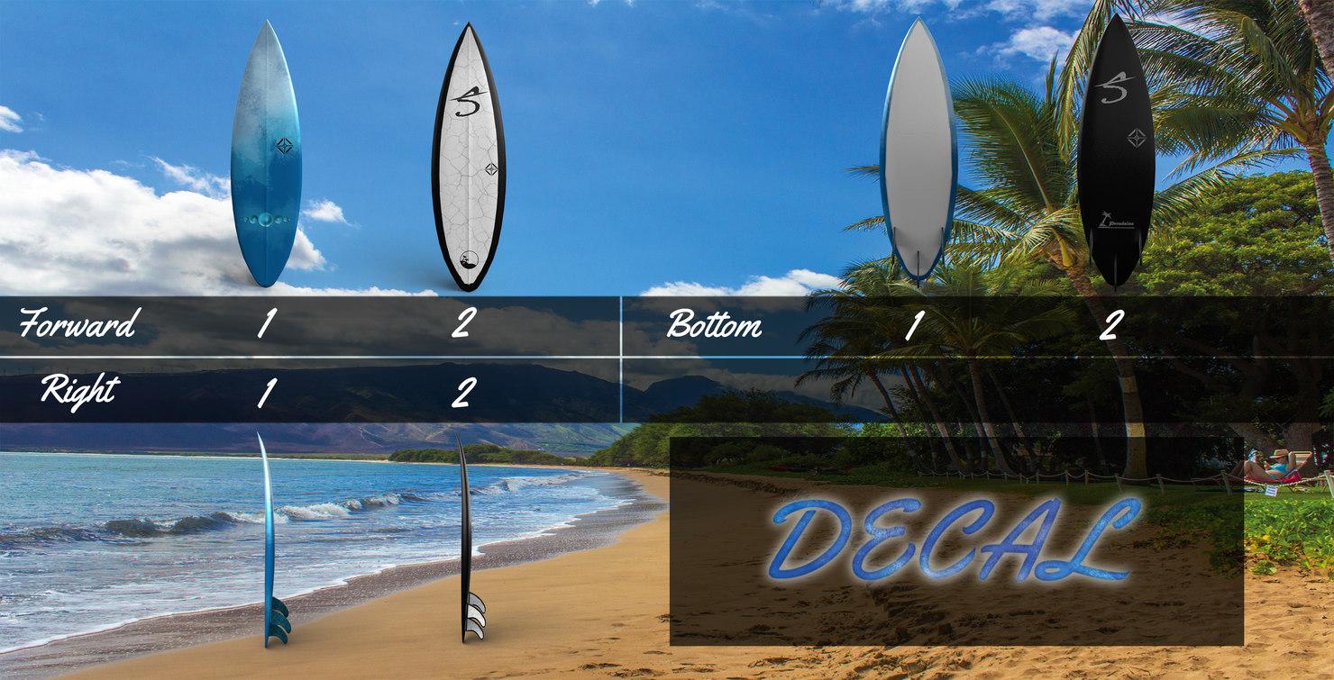 3D surfing board model