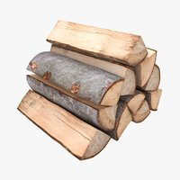 realistic firewood color 2 3D