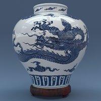 3D model porcelain ming vase dragon
