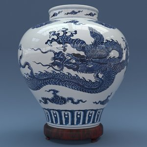 3D model porcelain ming vase dragon