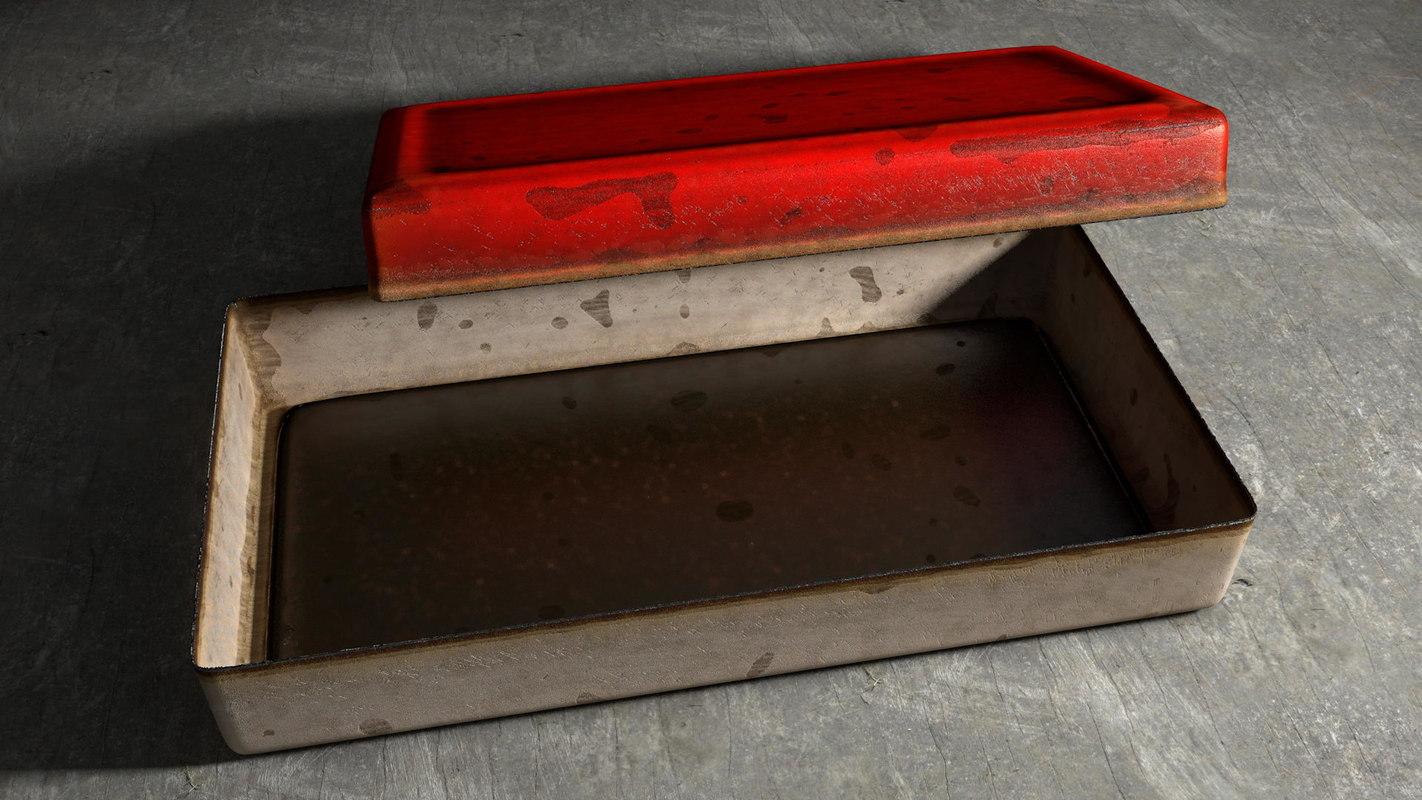 rusty vintage tin box 3D model