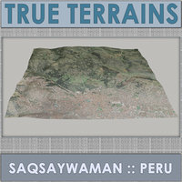 saqsaywaman megalithic complex terrain 3D model
