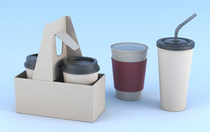 coffee paper cups holder 3D model