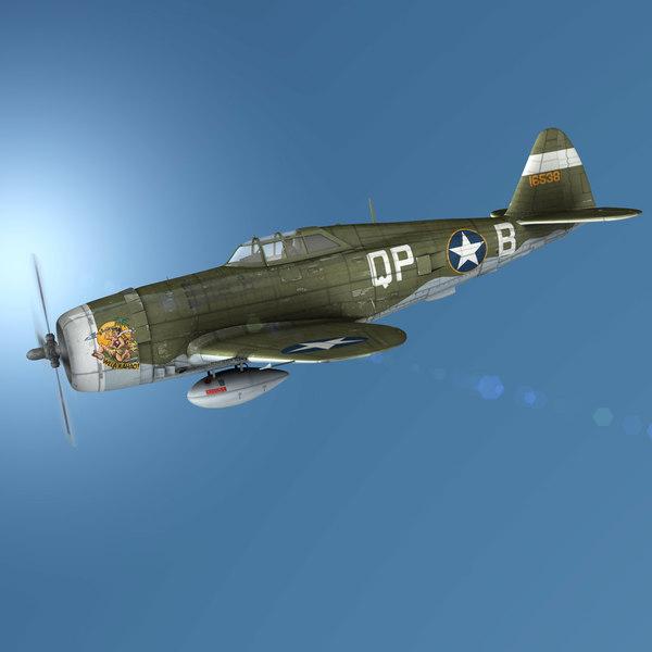 3D republic p-47c thunderbolt - model